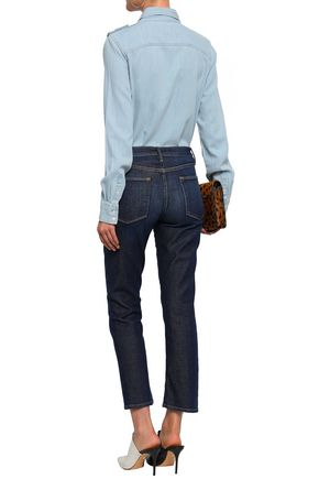 FRAME Embroidered cotton-blend chambray shirt