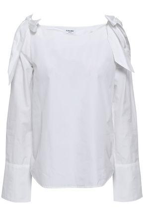 FRAME Cold-shoulder cotton-poplin top