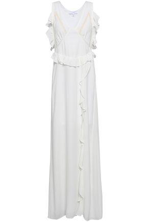 IRO Lace-trimmed ruffled crepe maxi dress