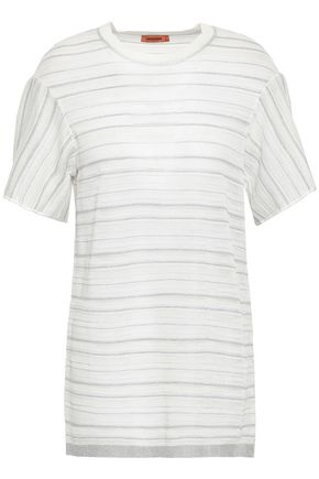 MISSONI Metallic striped crochet-knit T-shirt