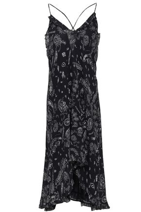 IRO Bagda ruffle-trimmed printed georgette slip dress