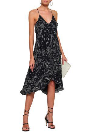 IRO Bagda ruffle-trimmed printed georgette slip dress