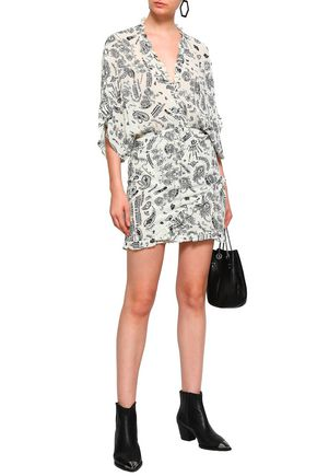 IRO Bamanta ruffle-trimmed printed crepe de chine mini dress
