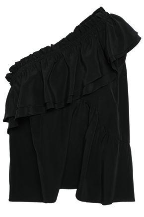 IRO Ballie one-shoulder ruffled washed-silk top
