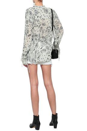 IRO Bavone ruffle-trimmed printed georgette blouse