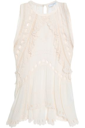 IRO Broderie anglaise-trimmed crepe de chine top