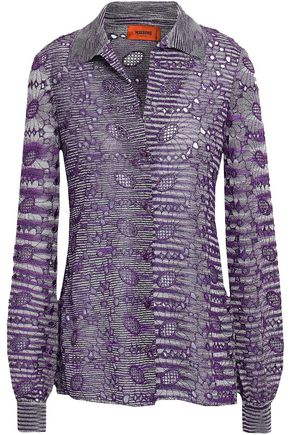 MISSONI Metallic broderie anglaise  crochet-knit shirt