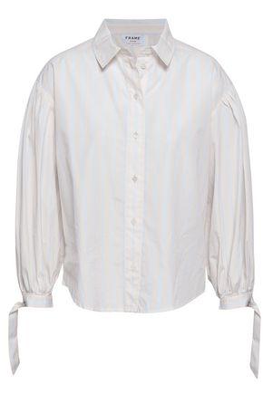 FRAME Gathered striped cotton-poplin shirt