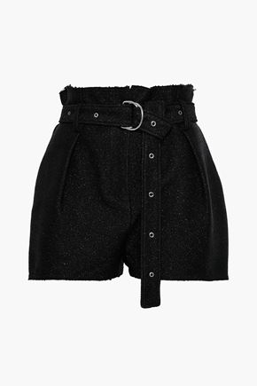 IRO Belted metallic tweed shorts