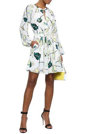 DIANE VON FURSTENBERG Asher flared floral-print crepe de chine mini dress
