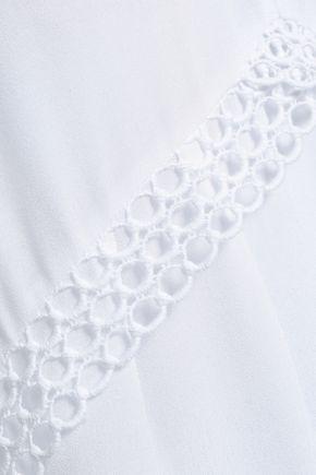 IRO Murilla guipure lace-trimmed crepe de chine top