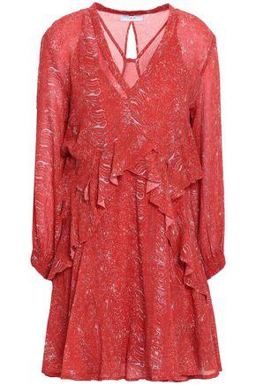 IRO Ruffled printed cotton-georgette mini dress