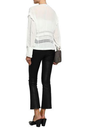 IRO Keola ruffle-trimmed lace and crepe de chine blouse