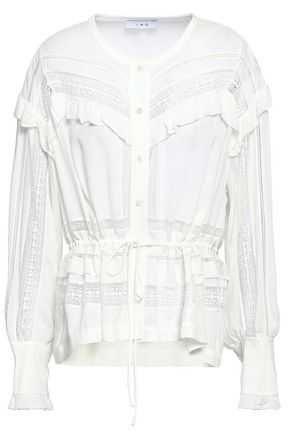 IRO Keola ruffle-trimmed lace and crepe de chine blouse