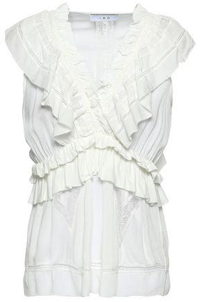 IRO Kess lace-trimmed ruffled crepe blouse