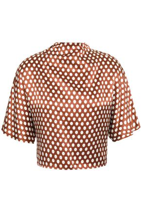 DIANE VON FURSTENBERG Cropped bow-detailed polka-dot silk-satin blouse