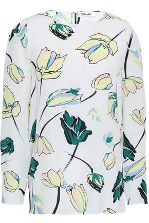DIANE VON FURSTENBERG Asher floral-print silk crepe de chine top