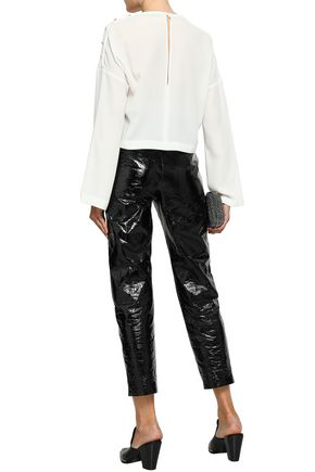 IRO Cropped button-detailed crepe top