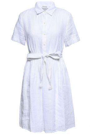 FRAME Belted striped linen shirt dress