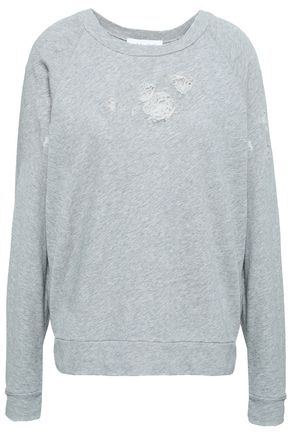 IRO Distressed French cotton-terry sweatshirt