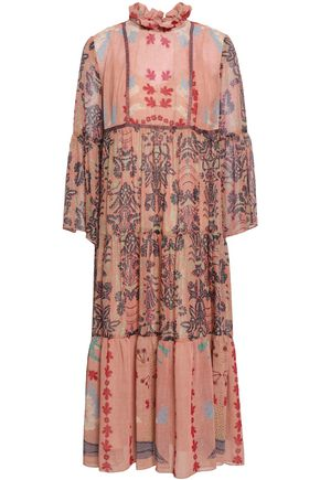 ANNA SUI Lamé-trimmed printed georgette midi dress