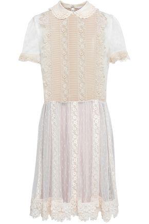 REDValentino Crochet-trimmed point d'esprit mini dress