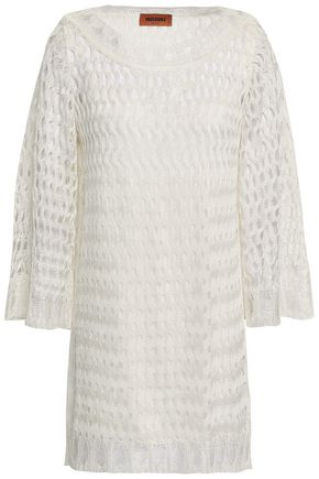 MISSONI Color-block open-knit mini dress