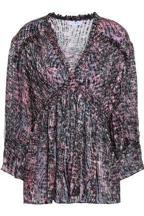 IRO Eileen printed devoré-velvet blouse
