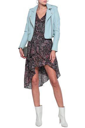 IRO Eloma cold-shoulder printed dévore-chiffon dress