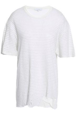 IRO Distressed striped linen-blend jersey T-shirt