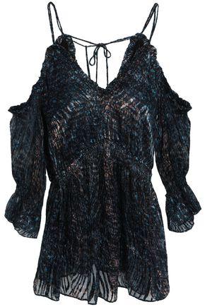 IRO Eldan cold-shoulder printed devoré-chiffon top