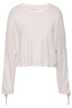 IRO Cropped lace-up slub linen-jersey top