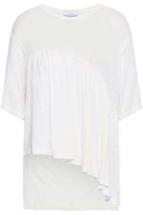 IRO Asymmetric gathered slub jersey top