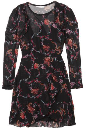 IRO Loxie ruffled printed georgette mini dress