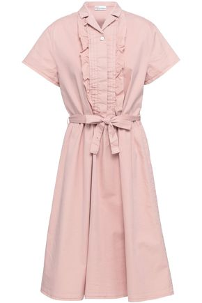 REDValentino Ruffle-trimmed stretch-cotton dress