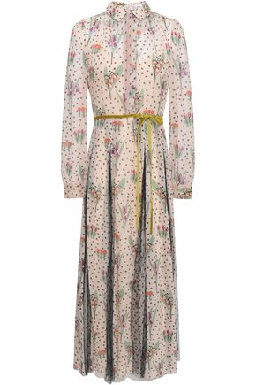 REDValentino Point d'esprit-paneled floral-print voile midi dress