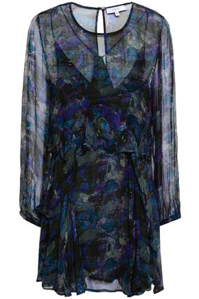 IRO Ruffled printed georgette mini dress
