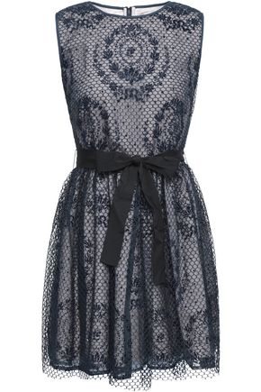 REDValentino Flocked mesh and organza mini dress
