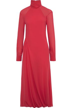 VICTORIA BECKHAM Open-back gathered georgette turtleneck midi dress