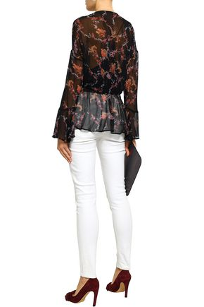 IRO Linette wrap-effect floral-print chiffon blouse