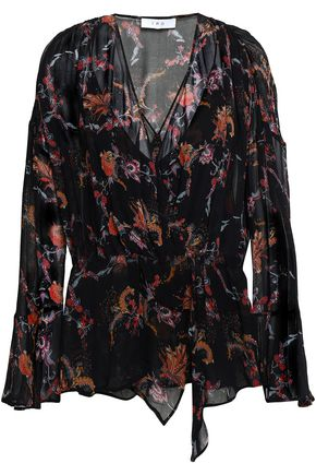 IRO Wrap-effect floral-print georgette blouse