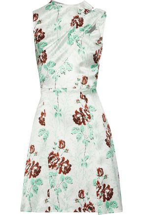 VICTORIA BECKHAM Draped floral-print crinkled satin-crepe mini dress
