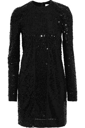 VICTORIA BECKHAM Paneled sequined tulle mini dress
