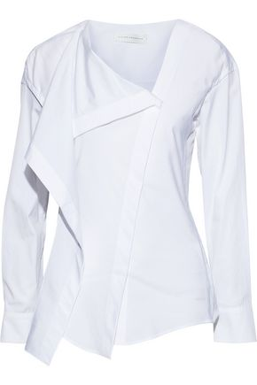 VICTORIA BECKHAM Draped cotton-poplin shirt