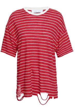 IRO Conah distressed striped linen-jersey T-shirt