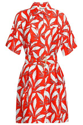 DIANE VON FURSTENBERG Belted printed satin-jacquard shirt dress