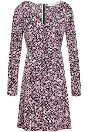 DIANE VON FURSTENBERG Flared printed stretch-jersey mini dress