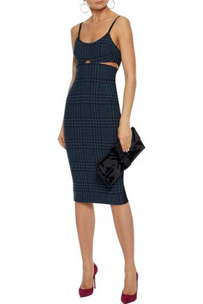 VICTORIA BECKHAM Cutout houndstooth jacquard-paneled wool dress