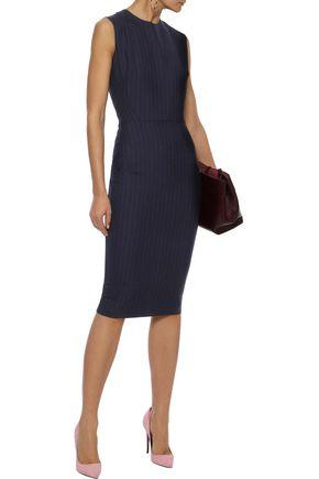 VICTORIA BECKHAM Paneled pinstriped wool-blend dress