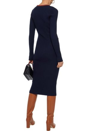 VICTORIA BECKHAM Cutout ribbed-knit dress